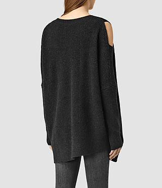 Womens Able Open Shoulder Sweater (CinderBlackMarl) - product_image_alt_text_3