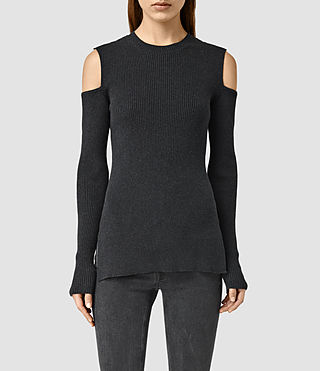 Womens Bernt Open Shoulder Sweater (CinderBlackMarl)