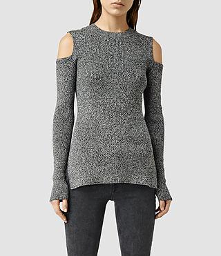 Womens Bernt Open Shoulder Sweater (MRG GREY MARL/BLCK)