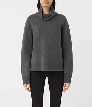 Women's Axa Roll Neck Jumper (FLANNEL GREY)