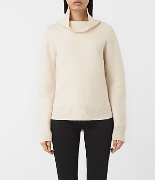 Womens Axa Roll Neck Sweater (IVORY WHITE) - product_image_alt_text_1