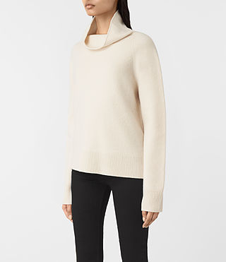 Womens Axa Roll Neck Sweater (IVORY WHITE) - product_image_alt_text_3