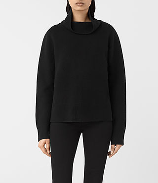 Women's Axa Roll Neck Jumper (Black)