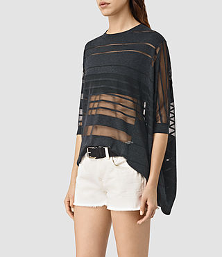 Damen Sheer Jumper (Cinder Black Marl)