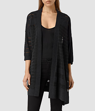 Womens Sheer Cardigan (Cinder Black Marl)