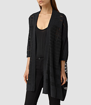 Damen Sheer Cardigan (Cinder Black Marl) - product_image_alt_text_2