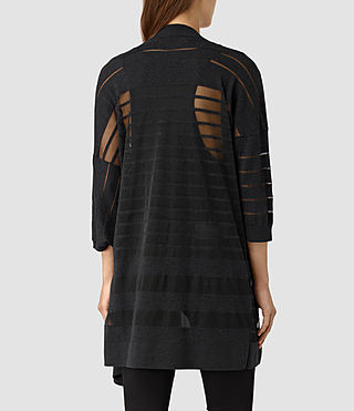 Women's Sheer Cardigan (Cinder Black Marl) - product_image_alt_text_3