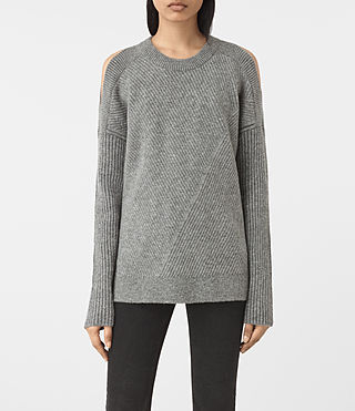 Womens 테라 오픈 숄더 점퍼 (Grey Marl) - product_image_alt_text_1