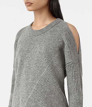 Womens Terra Open Shoulder Sweater (Grey Marl) - product_image_alt_text_2