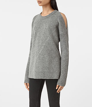 Womens 테라 오픈 숄더 점퍼 (Grey Marl) - product_image_alt_text_3
