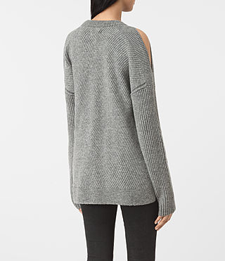 Womens 테라 오픈 숄더 점퍼 (Grey Marl) - product_image_alt_text_4