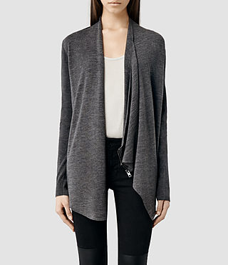 Womens Drina Cardigan (Charcoal) - product_image_alt_text_1