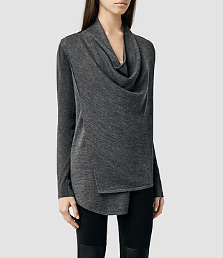 Womens Drina Cardigan (Charcoal) - product_image_alt_text_2