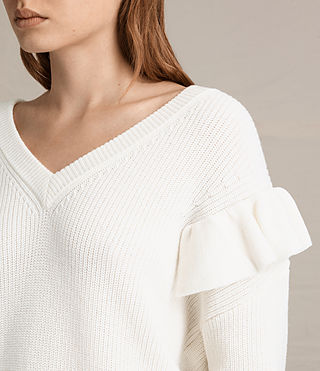 Mujer Parnell V-Neck Sweater (Chalk White)