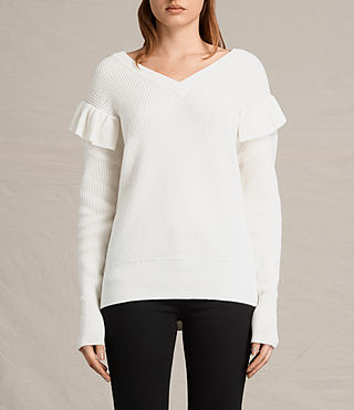 Womens Parnell V-Neck Sweater (Chalk White) - product_image_alt_text_2