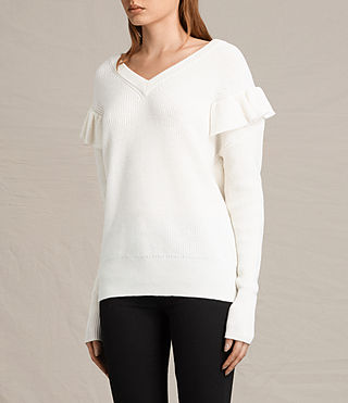 Womens Parnell V-Neck Sweater (Chalk White) - product_image_alt_text_3