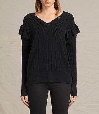 Womens Parnell V-Neck Sweater (Black) - product_image_alt_text_1