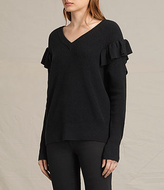 Womens Parnell V-Neck Sweater (Black) - product_image_alt_text_3