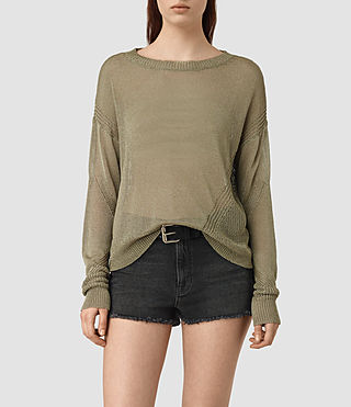 Womens Metal Sweater (Khaki Green) - product_image_alt_text_1