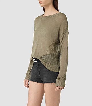 Womens Metal Sweater (Khaki Green) - product_image_alt_text_2