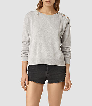Womens Revo Lace Sweater (Light Grey) - product_image_alt_text_1
