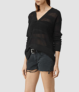 Femmes Fix Mesh Jumper (Black) - product_image_alt_text_2