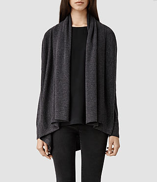 Womens Awry Cardigan (Charcoal Marl)