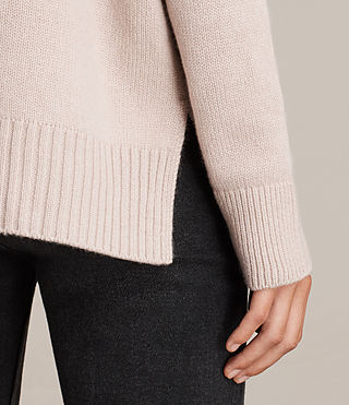 Womens Dasha Cashmere Crew Sweater (Whisper Pink) - Image 2