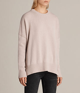 Womens Dasha Cashmere Crew Sweater (Whisper Pink) - Image 3