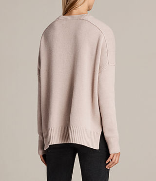 Womens Dasha Cashmere Crew Sweater (Whisper Pink) - Image 4