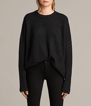Womens Dasha Cashmere Crew Sweater (Cinder Black Marl) - Image 1