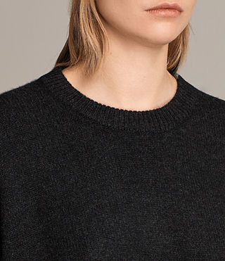 Womens Dasha Cashmere Crew Sweater (Cinder Black Marl) - Image 2