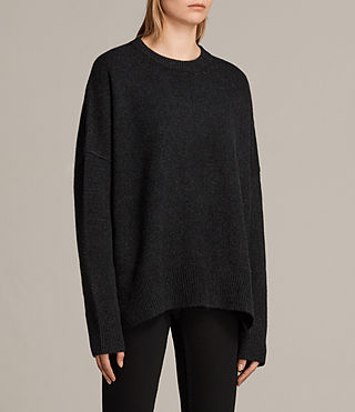 Womens Dasha Cashmere Crew Sweater (Cinder Black Marl) - Image 3