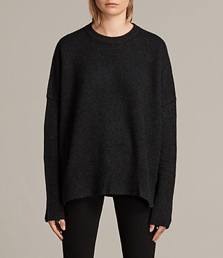 Womens Dasha Cashmere Crew Sweater (Cinder Black Marl) - Image 4