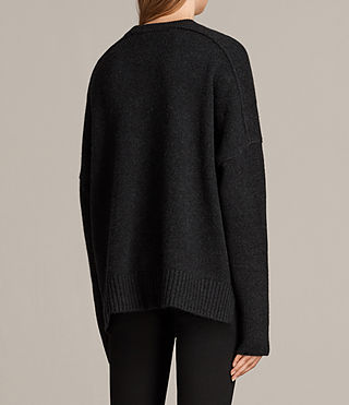 Womens Dasha Cashmere Crew Sweater (Cinder Black Marl) - Image 5