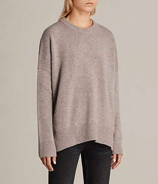 Womens Dasha Crew Sweater (OATMEAL BROWN) - Image 3