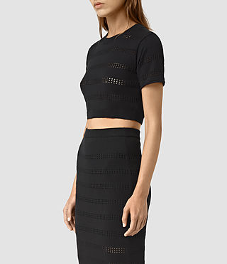 Womens Casto Cropped Top (Black) - product_image_alt_text_3