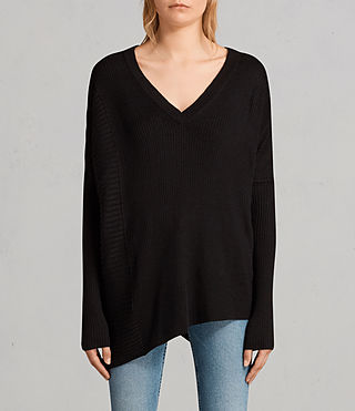 Women's Keld Olivo V Neck Jumper (Black) - Image 1