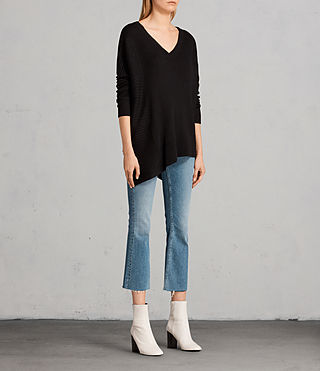 Womens Keld Olivo V Neck Sweater (Black) - Image 3