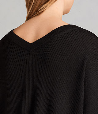 Women's Keld Olivo V Neck Jumper (Black) - Image 4