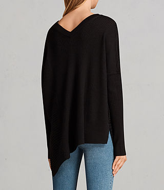 Womens Keld Olivo V Neck Sweater (Black) - Image 6