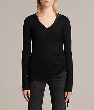 Womens Vana V Neck Sweater (Black) - Image 1