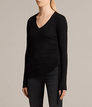 Damen Vana V Neck Jumper (Black) - product_image_alt_text_3