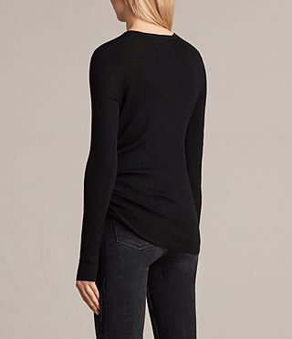 Damen Vana V Neck Jumper (Black) - product_image_alt_text_4