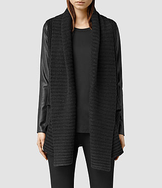 Womens Sefir Leather Cardigan (Cinder Black Marl)