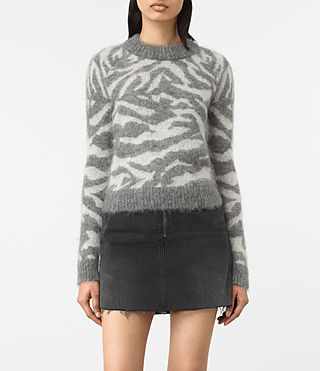 Damen Quant Cropped Tiger Jumper (Grey Marl)
