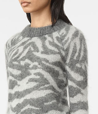 Womens Quant Cropped Tiger Sweater (Grey Marl) - product_image_alt_text_2