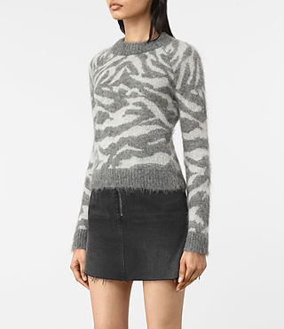 Womens Quant Cropped Tiger Sweater (Grey Marl) - product_image_alt_text_3