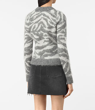 Womens Quant Cropped Tiger Sweater (Grey Marl) - product_image_alt_text_4