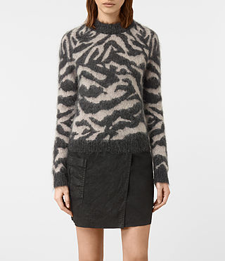 Femmes Quant Cropped Tiger Jumper (Charcoal Grey)
